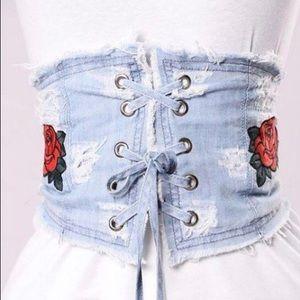 Accessories - GO TO GIRL STYLE- Denim Rose Waist Belt